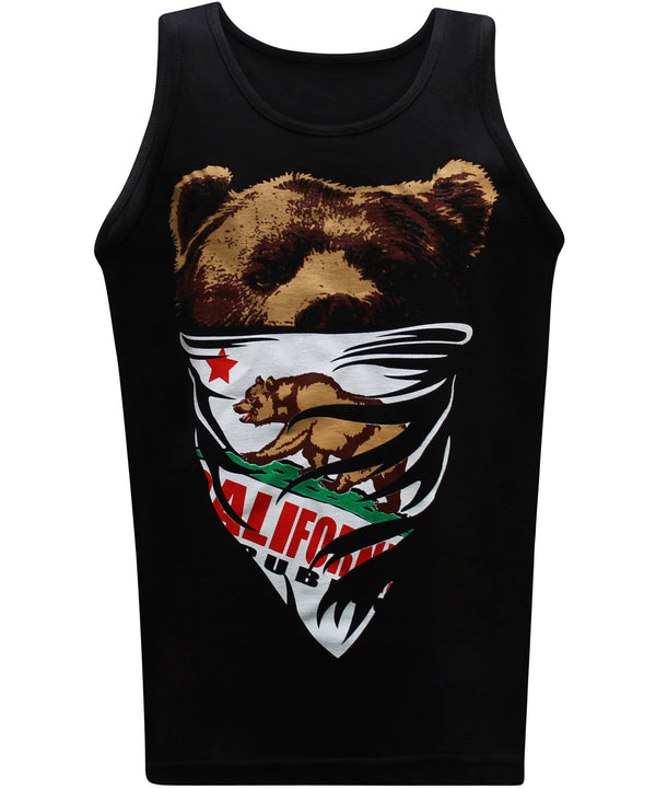 California Republic White Bandana Bear Men's Muscle Tee Tank Top T-Shirt - tees geek