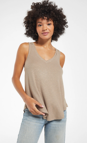 Heather Gray Notched Top