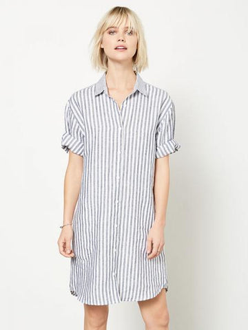 1520 Contrast Stripe Shirtdress