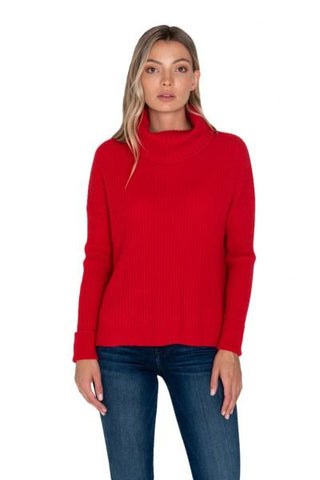 Raffi Ribbed Turtleneck - Red