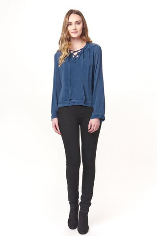 MW Lace Up Fray Long Sleeve Top-Steel Blue