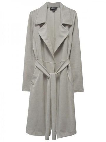 1520 Faux Suede Trench Coat-Stone