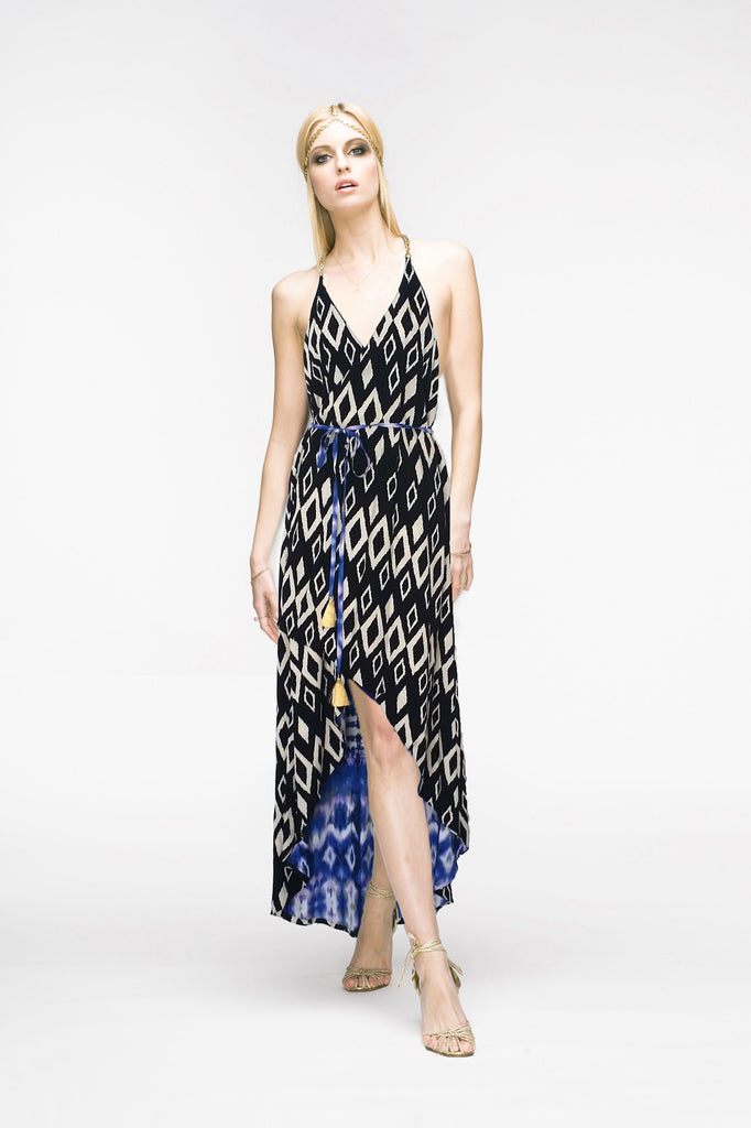Aime by Monica Mei Reversible Nicole Halter Chain Wrap Dress