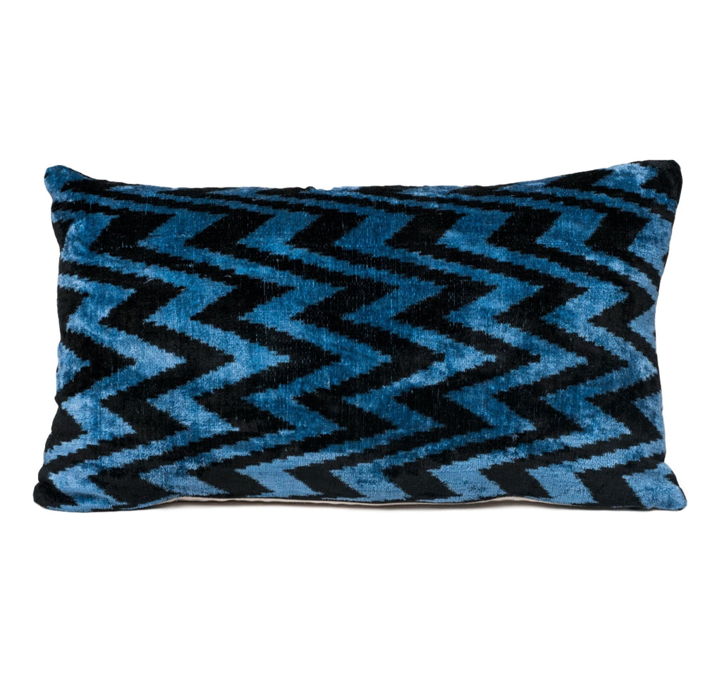 blue and black chevron pattern silk velvet ikat pillow fabric from uzbekistan, pillow hand made in USA