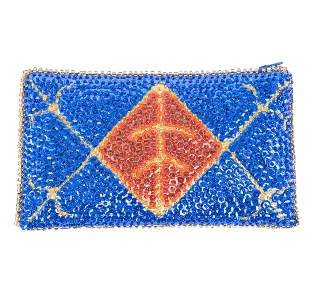 Ayizan Beaded Clutch- Royal Blue, Red, Gold