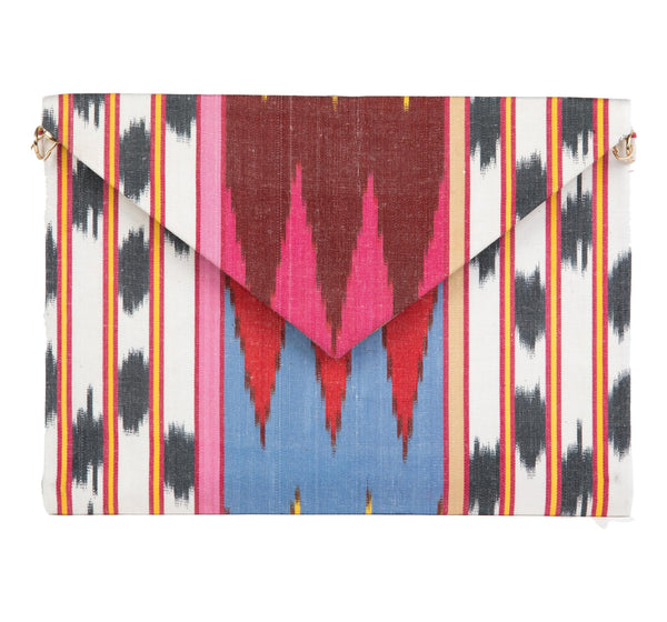 """Alice"" Silk Ikat Envelope Clutch,Small"