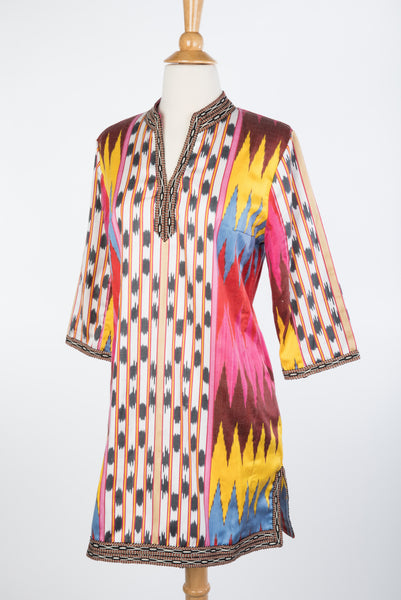 """Alice"" Silk Ikat Tunic/ Dress  in Ivory, Pinks and Purples"