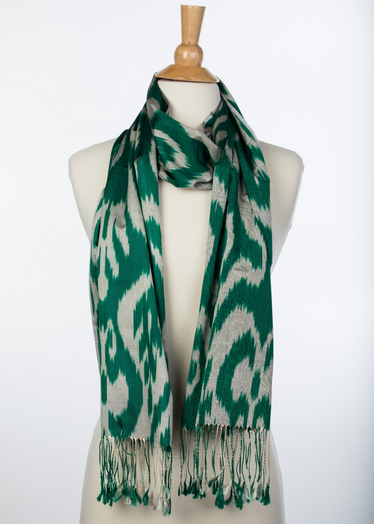 """Antrim""  Silk Ikat Scarf in Deep Green and Grey"