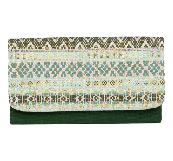 """Atitlan"" Guatemalan Textile Clutch, Green, Celadon, and Gold"