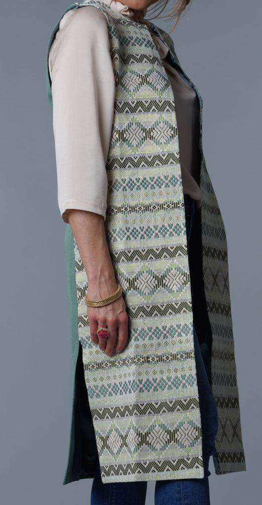"""Atitlan"" Tunic Vest, Sleeveless in Celadon Green and Gold"