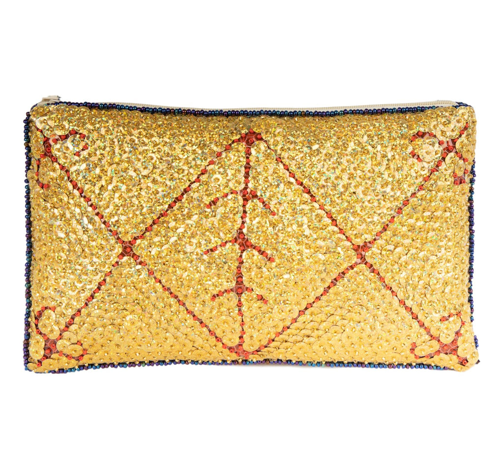 Ayizan Beaded Clutch, Gold and Red