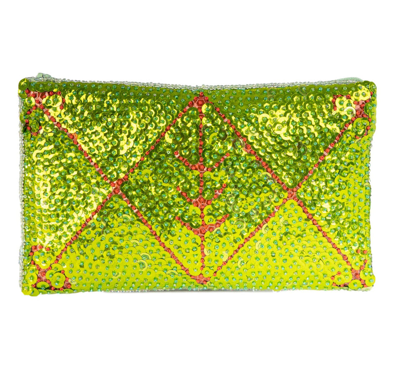 Ayizan Beaded Clutch, Green and Red