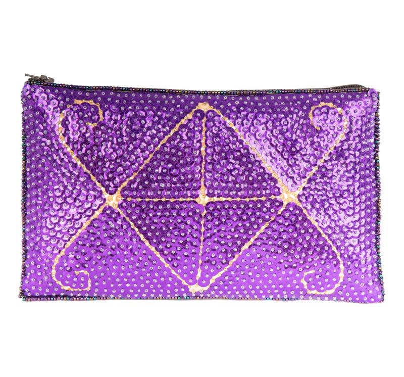 Ayizan Beaded Clutch, Purple and Blush