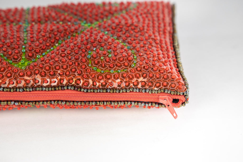 Ayizan Beaded Clutch, Tomato Red and Green