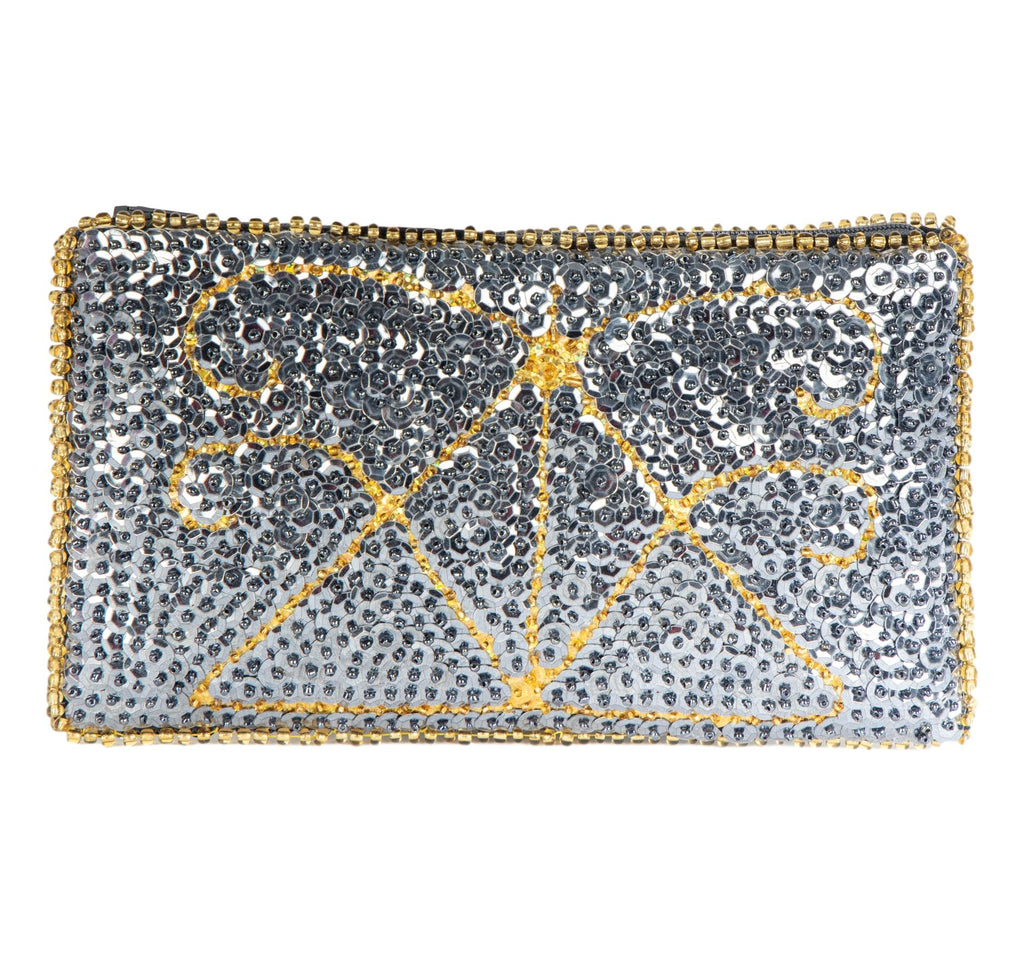 Ayizan Beaded Clutch, Grey and Gold