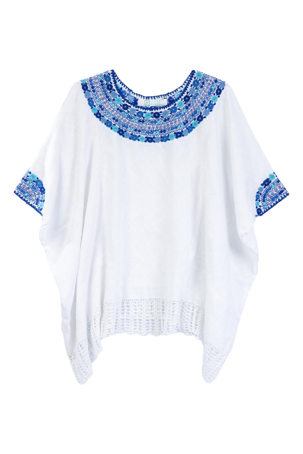white and blue Guatemalan blouse, hand woven and embroidered tunic. Artisan chic, Bohemian elegance, fair trade and women weavers.