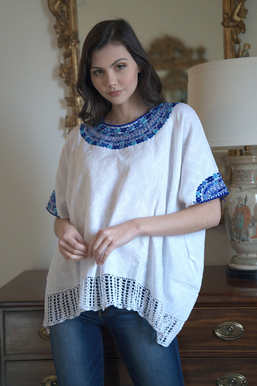 white and blue Guatemalan blouse, hand woven and embroidered blouse