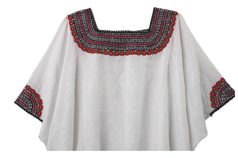 Beatriz Guatemalan Blouse - Berry Red and Black