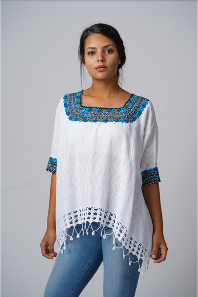 """Beatriz"" Guatemalan Blouse in Blue, Turquoise, and Black with Detailed Bottom Edge SIZE MEDIUM"