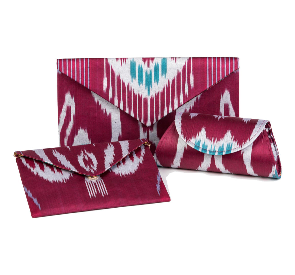 """Bryant"" Silk Ikat Envelope Clutch, Small"