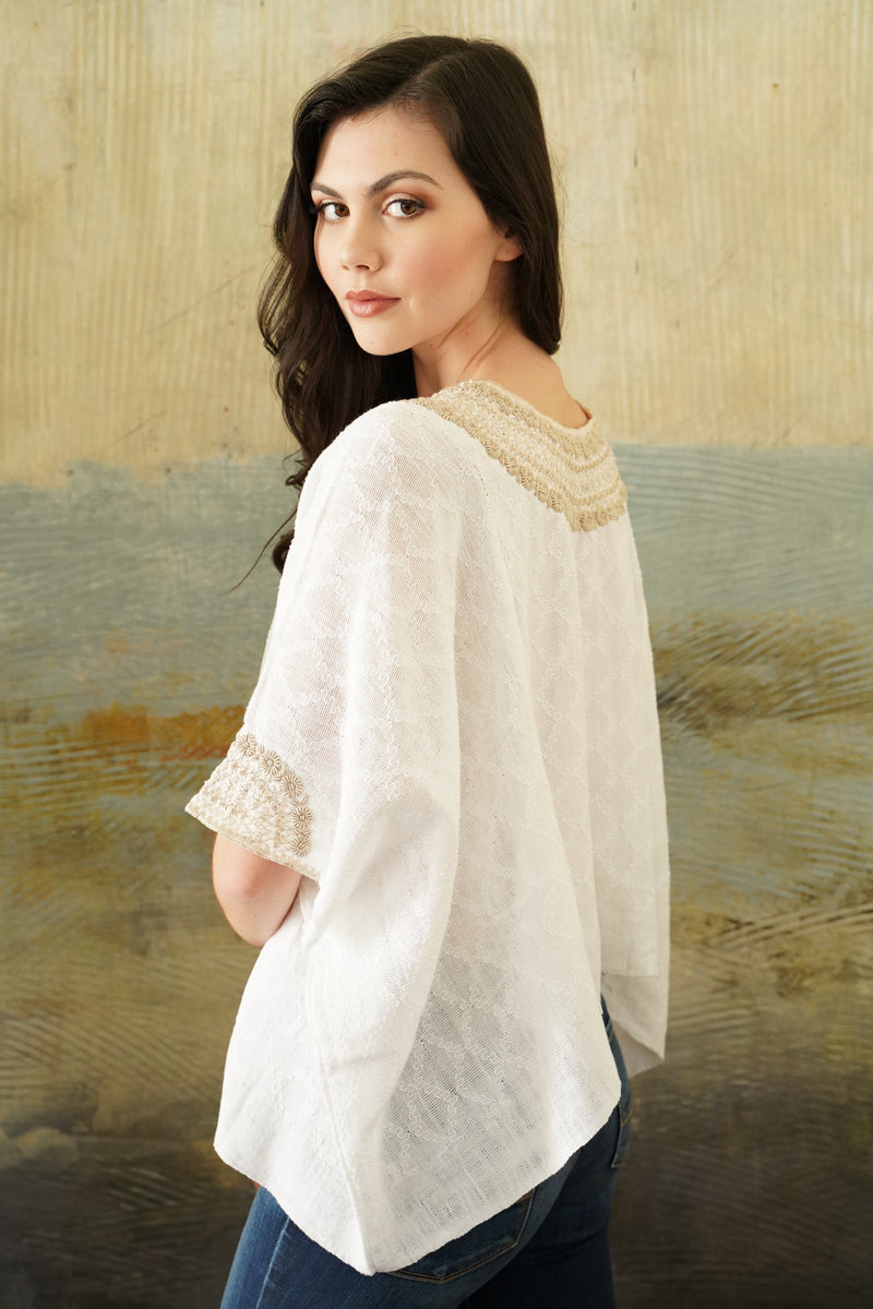hand woven and embroidered tunic blouse back