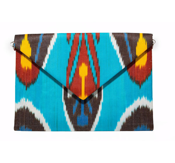 """Corfu"" Silk Ikat Envelope Clutch, Large"