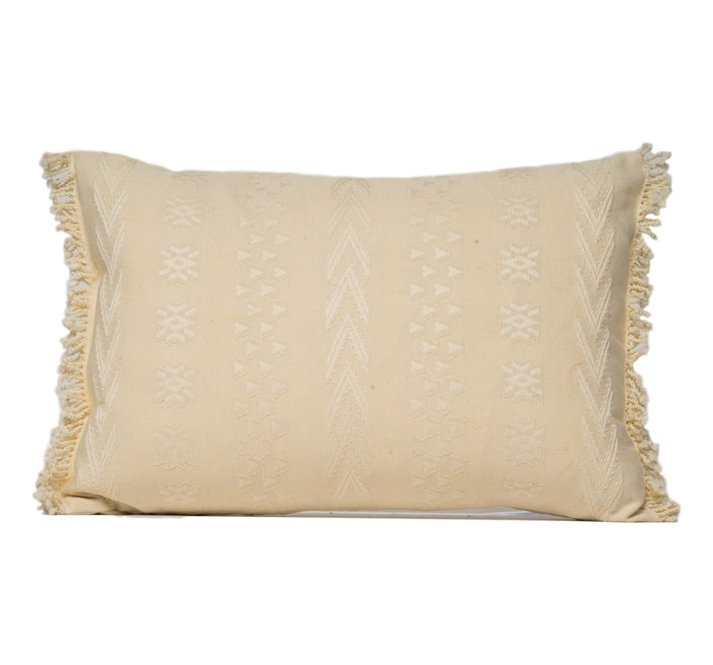"""Cahabon"" Guatemalan Textile Pillow in ivory"