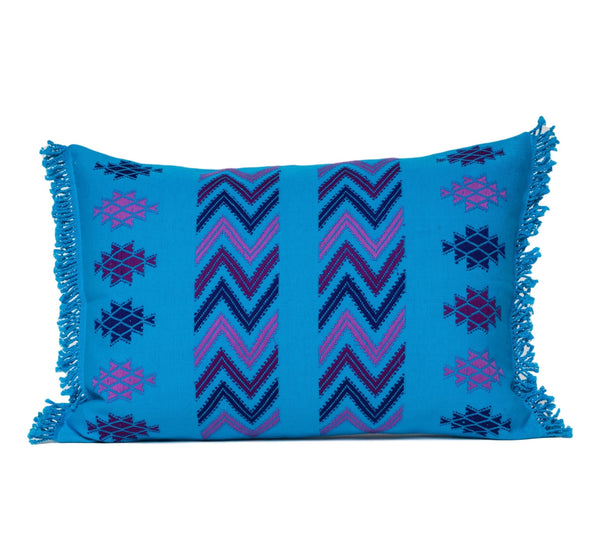 "Guatemalan textile pillow in turquoise and purple 12x20"" down insert made by women"