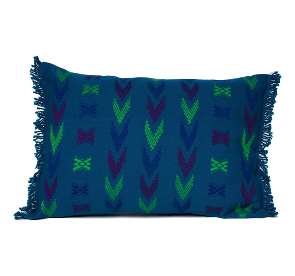 """Cahabon"" Guatemalan Textile Pillow in blue, lime green and deep purple"