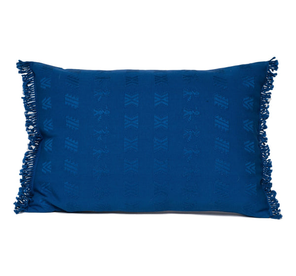 """Cahabon"" Guatemalan Textile Pillow in French blue"