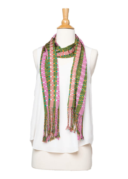 Bhutanese Scarf in pink, green, orange