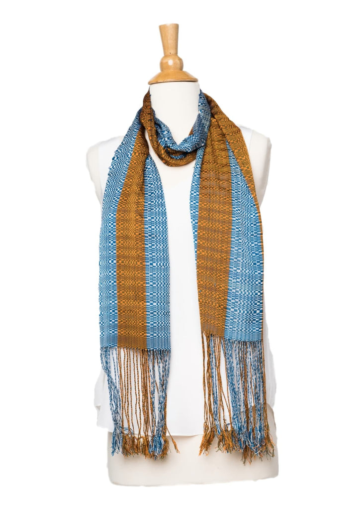 Bhutanese Silk Scarf in blue and orange