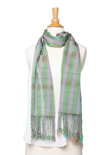 Bhutanese Scarf in mint green and soft violet