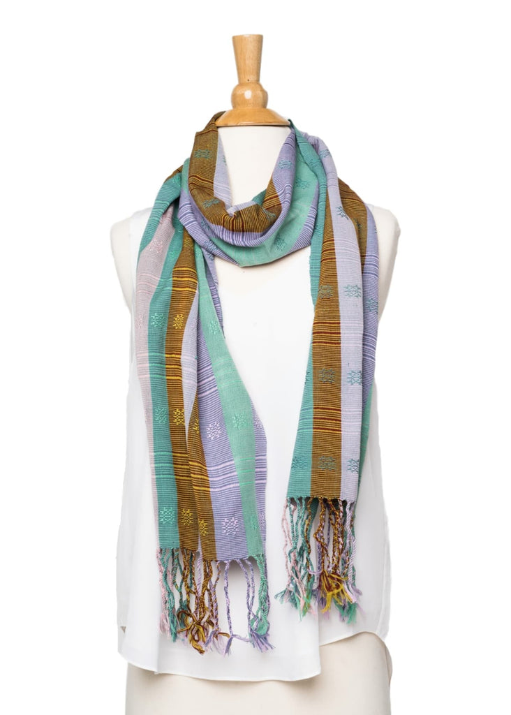 Bhutanese Silk Scarf in teal, light purple, brown