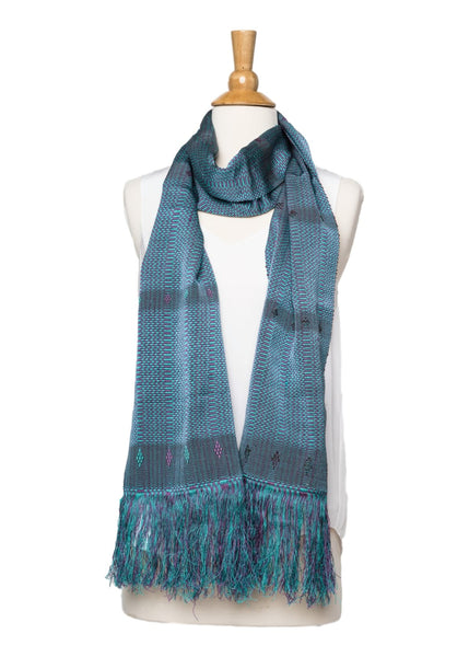 Bhutanese Scarf in teal, turquoise, and light purple