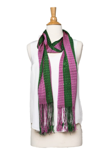 Bhutanese Silk Scarf in pinks and kelly green