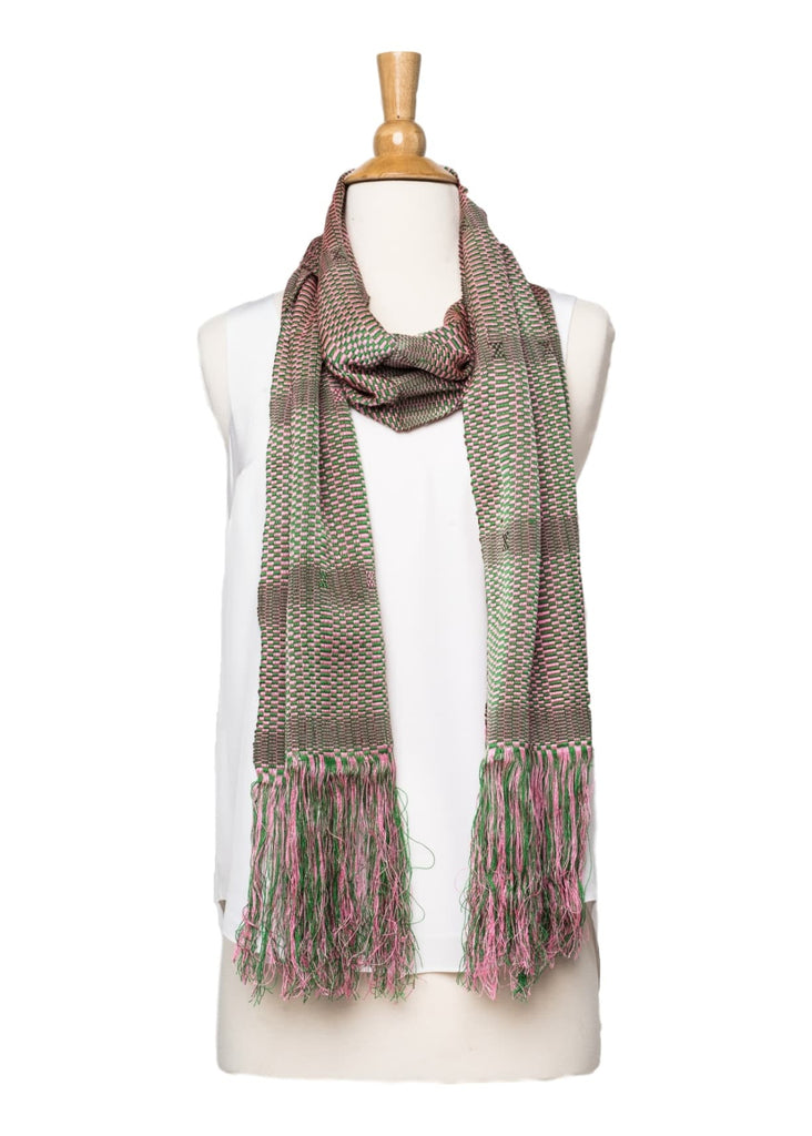 Bhutanese Scarf in soft rose pink and green