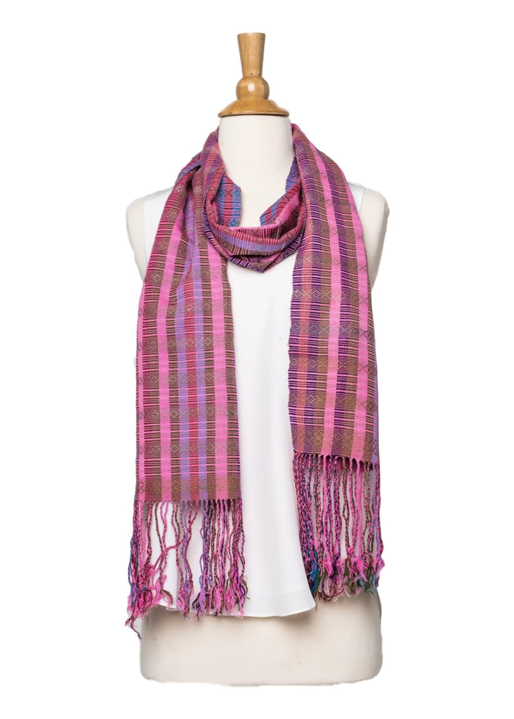 Bhutanese Scarf in pinks and purples