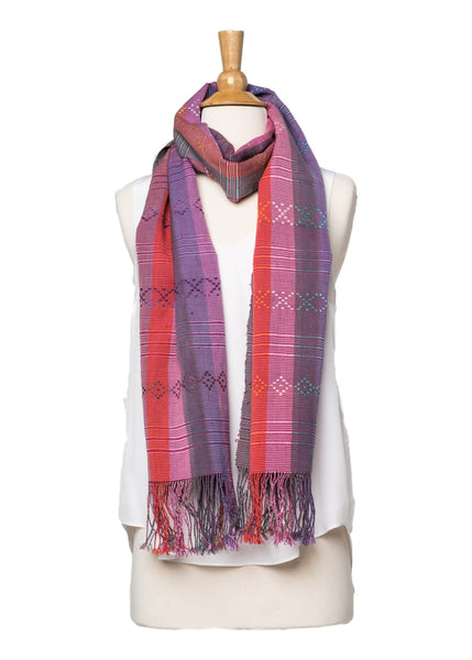 Bhutanese Silk Scarf in red, pink and purple