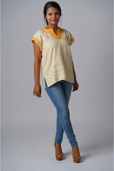 """Kahlo"" Embroidered Linen Blouse from Mexico, Buttercup Yellow, Size Medium"
