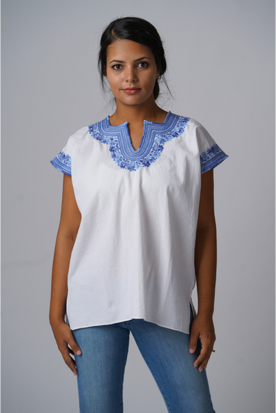 """Kahlo"" Embroidered Blouse from Mexico, White and French blue, Size Medium"
