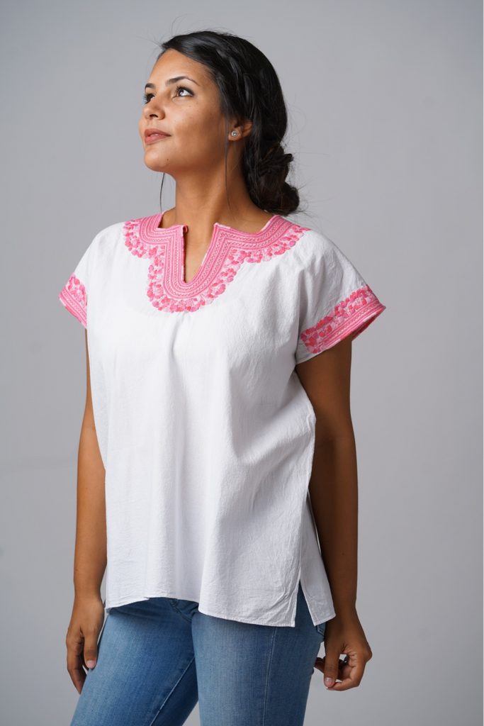 Kahlo Mexican Blouse - Pink