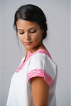 Kahlo Mexican Cotton Blouse - Pink