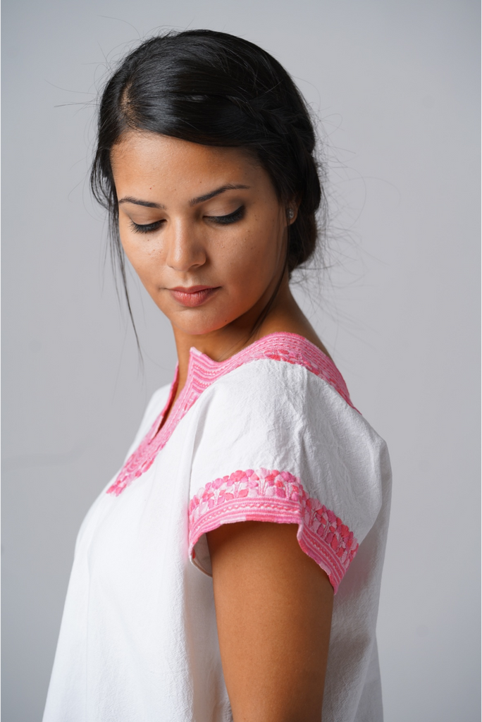 """Kahlo"" Embroidered Blouse from Mexico, White and Pink, Size Small"