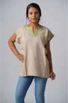 Kahlo Mexican Linen Blouse - Taupe and Celery Green