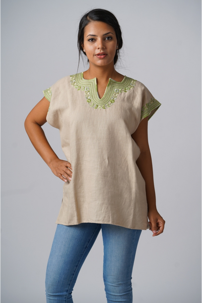 """Kahlo"" Blouse from Mexico, Embroidered Linen, Floral Motif, Oatmeal and Light Celery Green"