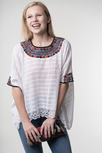 chic hand embroidered blouse made by women in the mountains of Guatemala, White cotton with multicolored embroidery