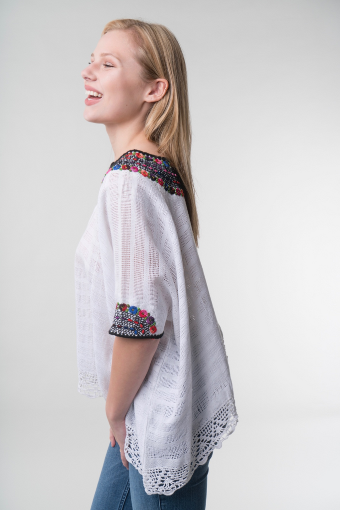 """Beatriz"" Guatemalan Blouse with Detailed Bottom Edge, Multicolor"