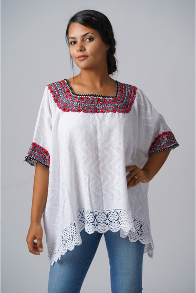 """Beatriz"" Guatemalan Blouse in Fuschia and Green with Detailed Bottom Edge"