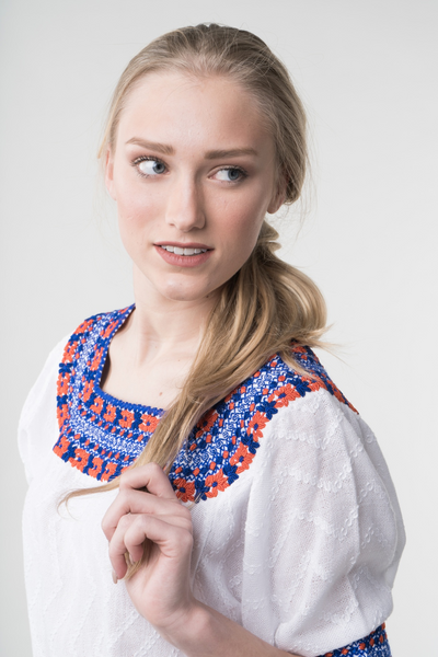 """Gabrielle"" Fitted Guatemalan Blouse in Blue and Orange, Size Small"